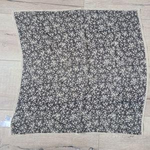 Talbots Floral Black/Cream Silk Scarf